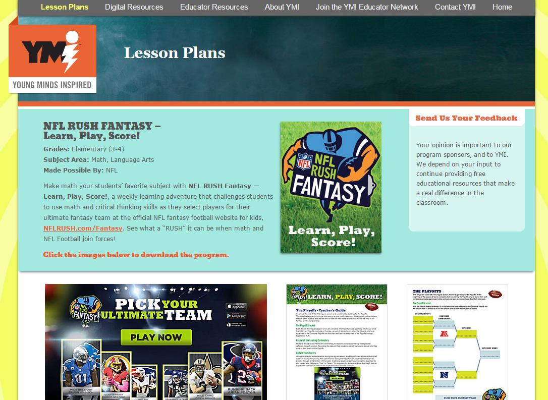 NFL fantasy curriculum
