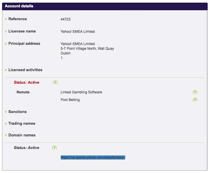 Yahoo gambling license